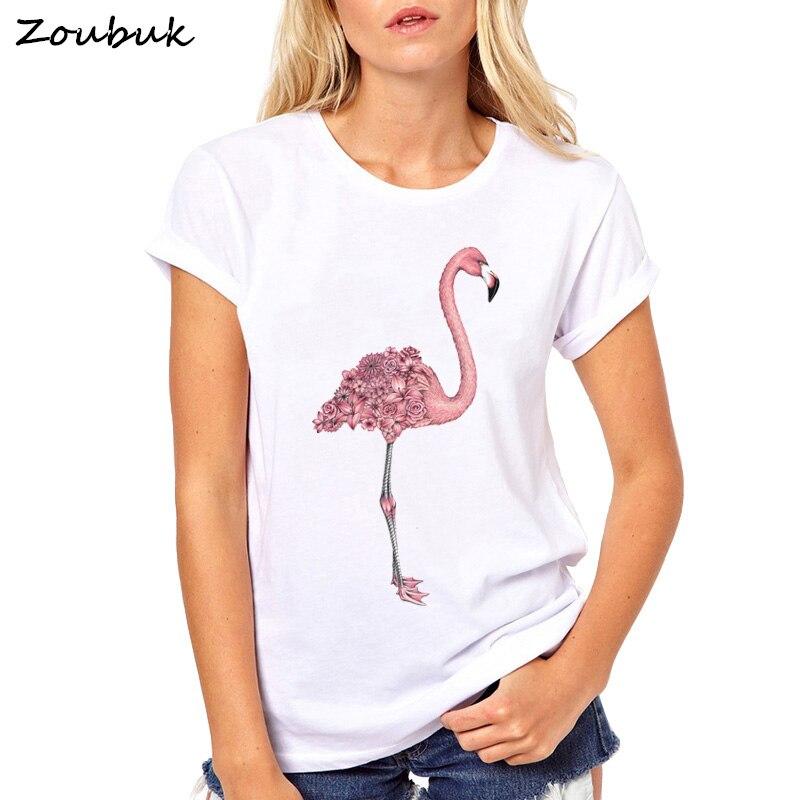 2018 fashion cute flamingo printing t shirt women brand t for Shirt printing places near me