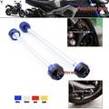 Para yamaha mt 09 mt09 2014-2015 mt-09 tracer 2015 front & rear axle fork crash sliders protetor roda azul
