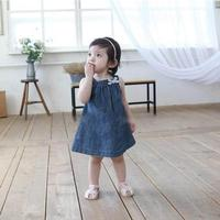 Cute Blue Solid Bow Cowboy Dress Children Kids Girls Strap Jean Denim Knee Length Dresses Summer