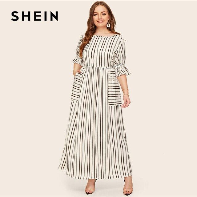 SHEIN Plus Size Flounce Sleeve Patch Pocket Striped Dress 2019 Women Spring Summer Casual Half Sleeve High Waist Maxi Dresses 3