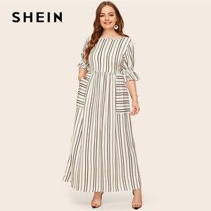 Image 4 - Женское платье в полоску SHEIN, повседневное Макси платье с рукавами воланами и накладным карманом, весна лето 2019