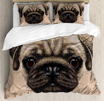 Набор пододеяльников для мопса, двойной размер, детальный портрет, Рисунок собаки, Реалистичный дизайн животного, цифровое художественное