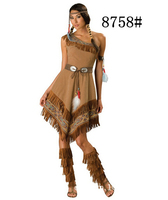 Free Shipping Adult Sexy Fashion Women Halloween Cosplay Clothing Dress Indian Role Playing Costume Carnival Birthday
