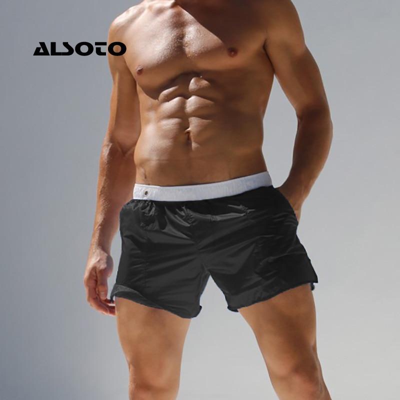 ALSOTO Men Swim Shorts Summer Swimwear Swimming Trunks Men's Beach Shorts Swimsuits Translucent Gay Briefs Mayo Sunga Swim Suits