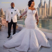 kejiadian Gorgeous Long Sleeve South Mermaid Wedding Dress