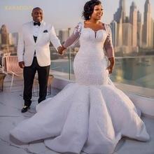 kejiadian Gorgeous Long Sleeve South Mermaid Wedding Dress