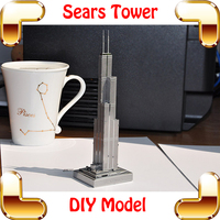 New Year Gift P004 S Sears Tower 3D Model Building Silver America High Rise Model Mansion