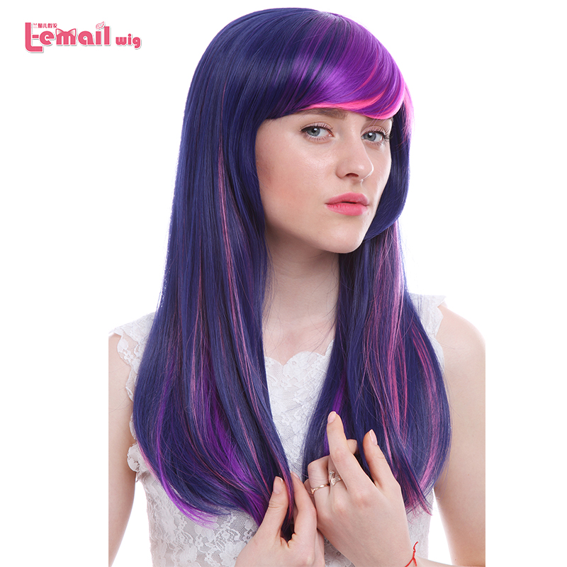 L-email Wig Hot Sale 60cm/23.62inches Cosplay Wigs Mixed Color Little Pony Heat Resistant Synthetic Hair Perucas Cosplay Wig
