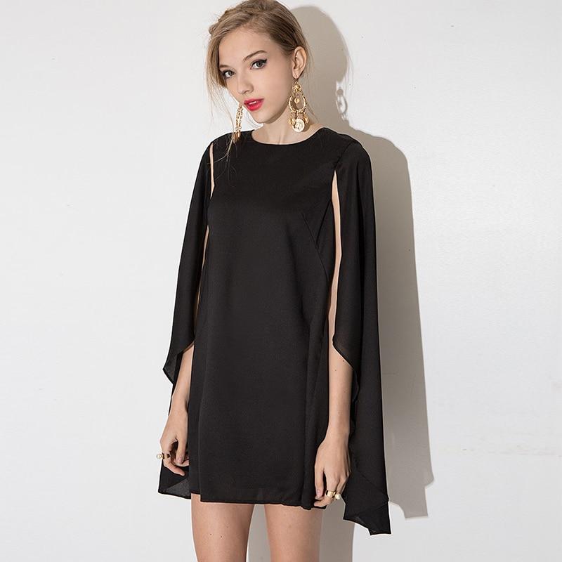 4c31a3b83dc3 Delle-donne-del-Mini-vestito-Solido-Mantello-Manica-Casual-Abito -Vintage-Sottile-Elegante-Breve-Vestito-Nero.jpg