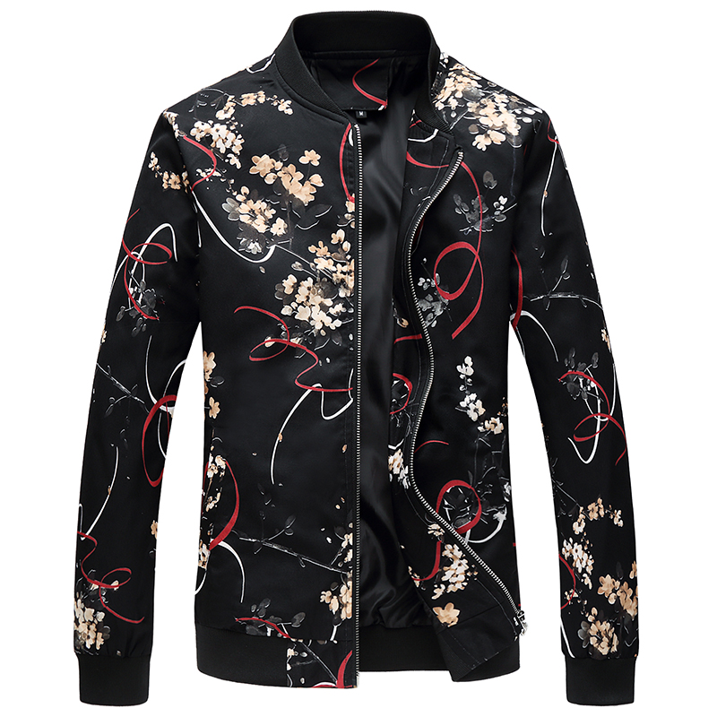 YuWaiJiaRen Oversize 6XL Spring Autumn Jacket Men Fashion Casual Zipper Flowers Print Windbreaker Flroal Coats for Men