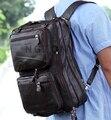 Multi-Função de Moda de Couro Genuíno Homens Mochila de Viagem Mochila Escolar Mochila Grande Saco Crossbody grande mochila
