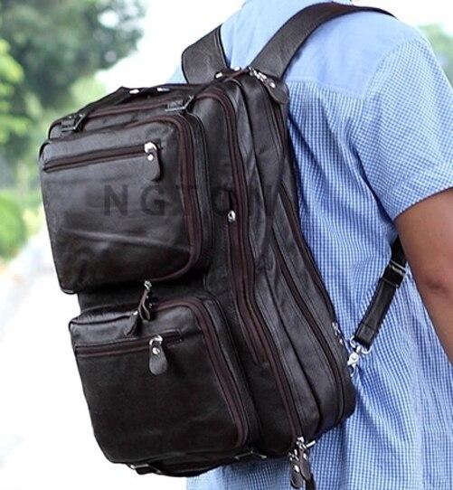 Multi-Function Fashion Genuine Leather Backpack Men Travel Backpack School Bag Large Rucksack Crossbody Bag big bookbag