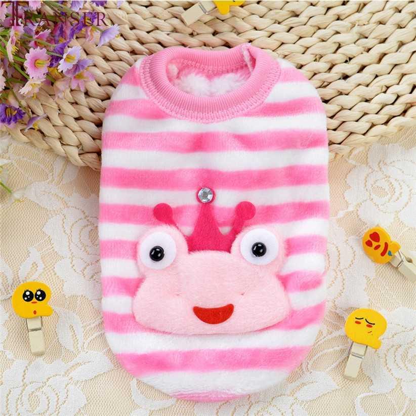 드롭 배송 개구리 만화 귀여운 핑크 개 스웨터 부드러운 따뜻한 양털 개 코트 셔츠 가을 겨울 봄 개 옷 80926