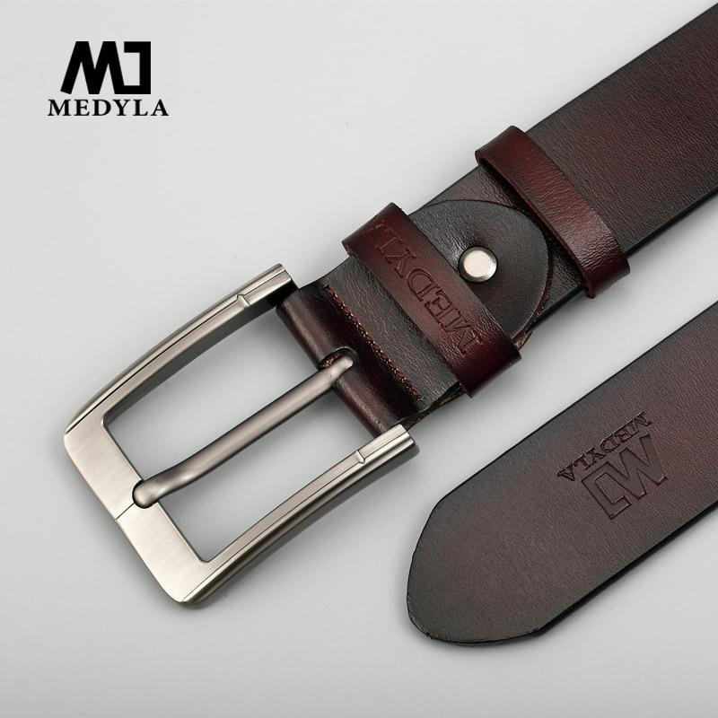 MEDYLA Designer Belts Men High Quality Genuine Leather Belt Man Fashion Strap Male Cowhide Belts For Men Jeans Cow Leather Belts