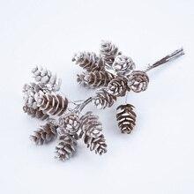 10 шт./набор искусственные растения, ненастоящие декоративные цветы из соснового конуса, венки, Рождественский венок, домашний декор, подарки ручной работы, помпон