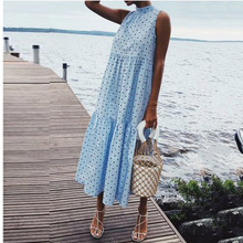 Women Polka Dot Summer Casual Loose Bohemian Maxi Dress Sexy Boho Beach Dresses Ruffles Vintage Vestidos цена и фото