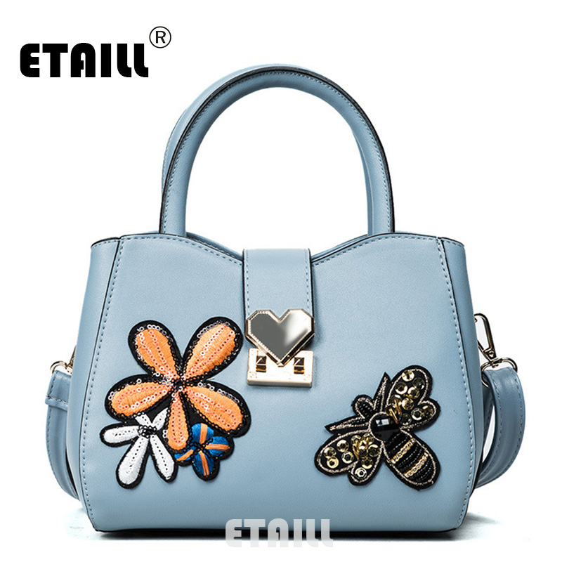 ETAILL Paillette Flowers and Bee Applique Designer Bags Famous Brand Women Bags 2017 PU font b