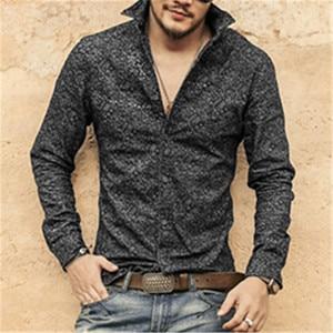 Image 2 - Черная джинсовая рубашка Для мужчин брендовые Длинные рукава стенд воротник Для мужчин рубашка с цветочным узором печати случайные slim fit camisa социальной masculina S2002