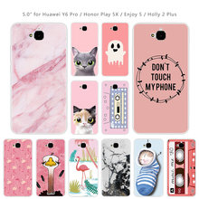 for Huawei Y6 Pro / Honor Play 5X / Enjoy 5 / Holly 2 Plus Clear Soft Silicone Phone Cases For Huawei Honor 4C pro Pink Coque(China)
