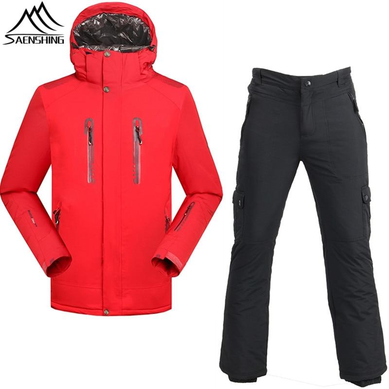 SAENSHING Ski Suit Men Waterproof Ski Jacket Snowboard Pant Super Warm Snowboarding Suits Male Outdoor Ski Set Winter Suit Coat fl ski gloves snowboard