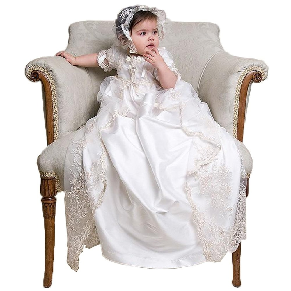 Gorgeous Baptism Baby Clothing Toddler Girl Cloths Dress Lace First Communion Infant Christening Gowns With Bonnet  0-24 Month