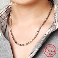 Hombres Collar de Plata 925 Clásico Domineering 100% Sterling Silver Bead 50 cm Collar de Cadena de Joyería de Los Hombres
