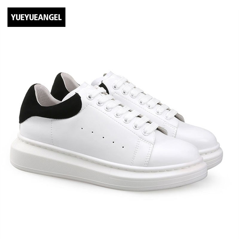 Spring Autumn Genuine Leather Sneakers Women White Shoes Fashion Lace-up Thick Platform Shoes For Women Casual Street Footwear 2017 british style women casual shoes street snap low top platform wedge shoes black white lace up thick bottom shoes women