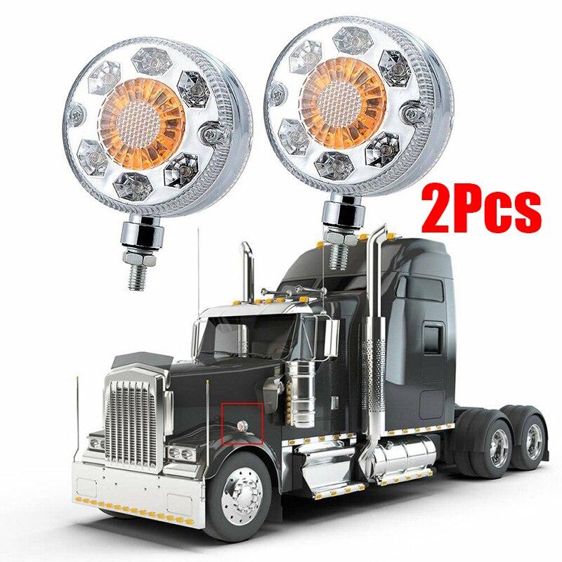 2pcs Round High Power 24 LED Pedestal Fender Light 12W DC 24V ABS Shell + PC Lens Truck Double Face Turn Signal Brake Lamp