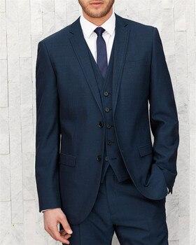 Navy Blue Slim Fit Groom Tuxedos For Men New 2016 Design Blazer wedding suits for men 3 pieces