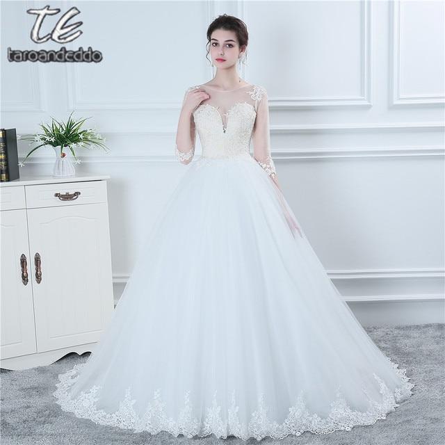 Новый Три четверти 3/4 рукава Свадебное платье Обнаженная Лиф Sheer Вернуться с кнопкой Свадебное платье Лидер продаж Vestidos De Noiva