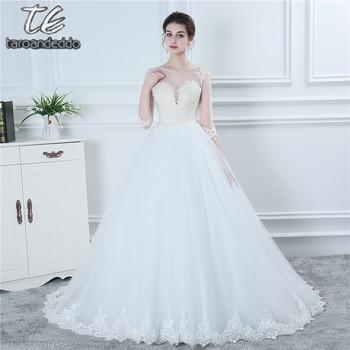 New Three Quarter 3/4 Sleeves Wedding Dress Nude Bodice Sheer Back with Button Bridal Dress Hot Sale vestidos de noiva