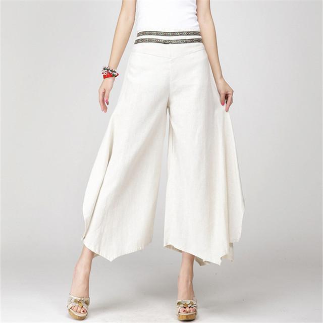 2017 Summer Palazzo Pants Women Cotton Linen Vintage Bottom Pantalon Femme Clothes Elegant Trousers Ethnic Casual Wide Leg Pants