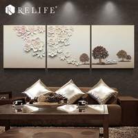 Modern Landscape Handpainted Wall to Wall Pictures 3 Panels for Living Room Triptych Pictures