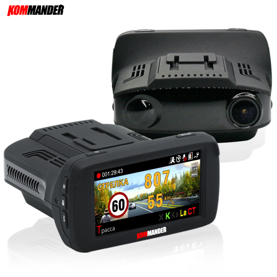 Kommander Ambarella <font><b>Car</b></font> <font><b>DVR</b></font> Camera <font><b>Radar</b></font> <font><b>Detector</b></font> <font><b>GPS</b></font> <font><b>3</b></font> <font><b>in</b></font> <font><b>1</b></font> LDWS FHD 1296P Video Loop recording Dashcam Russian Language image