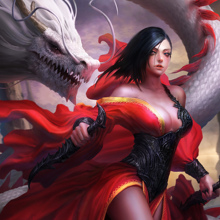 Home Decoration weapons look dragon girl art dress fantasy  fabric poster print (Accept customization )JZK39
