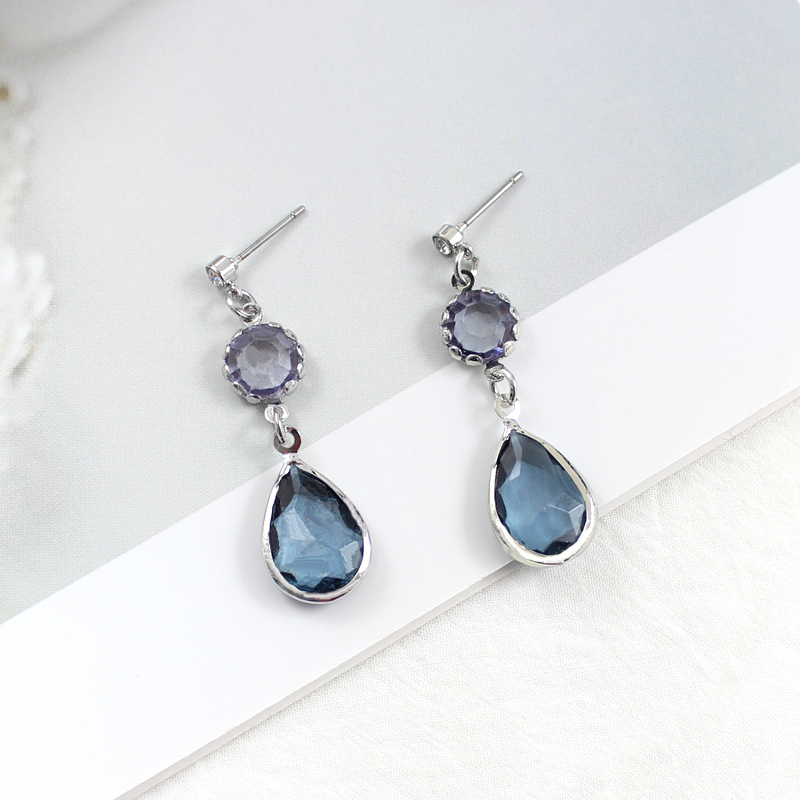 Crystal-Stone-Pendant-Earrings Jewelry Drop-Shaped Rhinestone Glamour Transparent Elegant