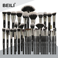 BEILI 40 pieces Luxury black professional makeup brush set Big brushes Powder foundation blending goat hair makeup brushes