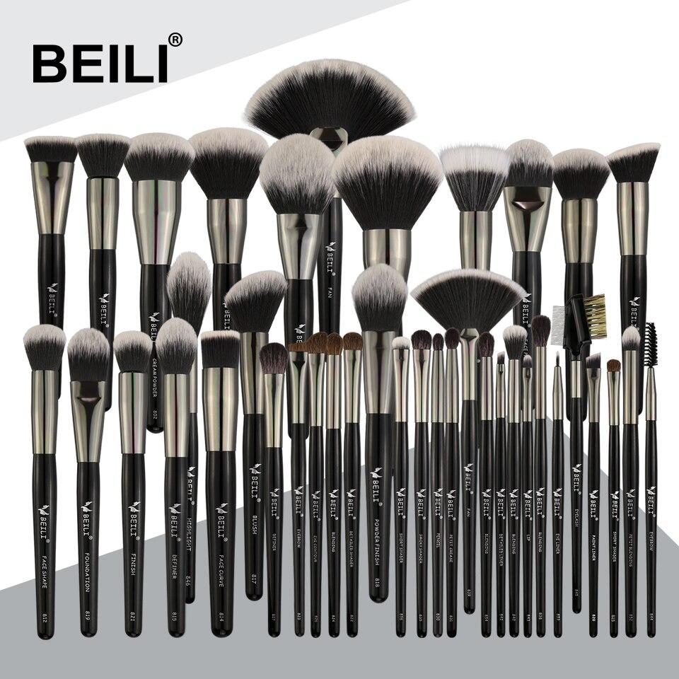 BEILI 40 peças De Luxo preto pincel de maquiagem profissional definida escovas Grande Pó foundation blending cabra cabelo pincéis de maquiagem