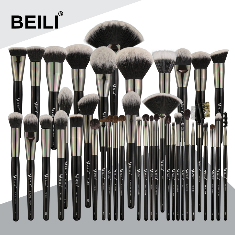 BEILI 40 stück Luxus schwarz professional make up pinsel set Big pinsel Powder foundation blending ziegenhaar make up pinsel-in Lidschatten-Applikator aus Haar & Kosmetik bei  Gruppe 1