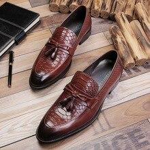 QYFCIOUFU New Arrival Snake Pattern Tassel Business Formal Shoes Men Slip-on Dress Shoes Genuine Leather Men's Wedding Shoes