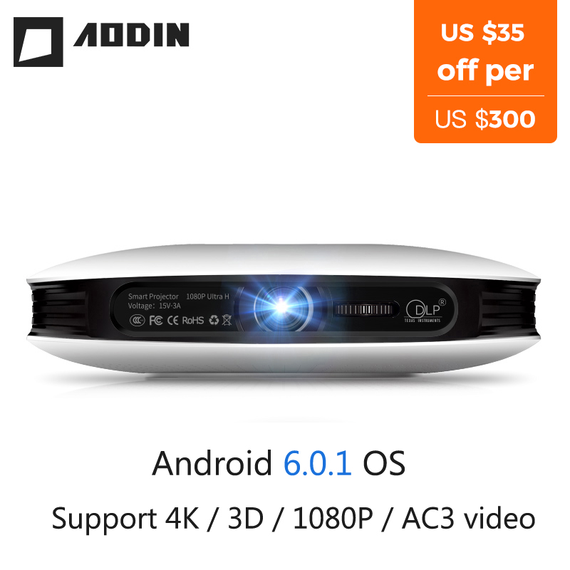 AODIN M18 mini LED Projector 4K 3D DLP projector Pocket Android HDMI Input 2G DDR3 Full HD 1080P portable projector home theater gigxon g700a android portable mini projector support full hd level 1920x1080pixels 1200 lumens led projector