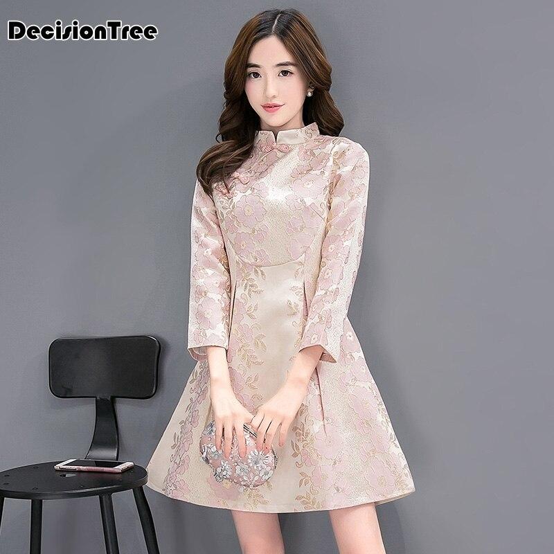 2019 nye kinesiske traditionelle kjole kvindelige blonde bryllup qipao cheongsam lang bomuld tøj vinter kvinder fest kinesisk kjole