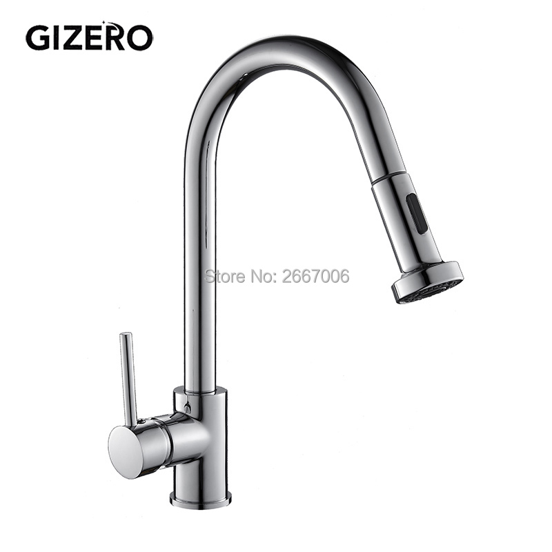 GIZERO Free Shipping Silver Color Faucet Deck Mount Pull Out Swivel Spout Mixer Kitchen Sink Waterfall Tap House Cleaning GI2078 good quality wholesale and retail chrome finished pull out spring kitchen faucet swivel spout vessel sink mixer tap lk 9907
