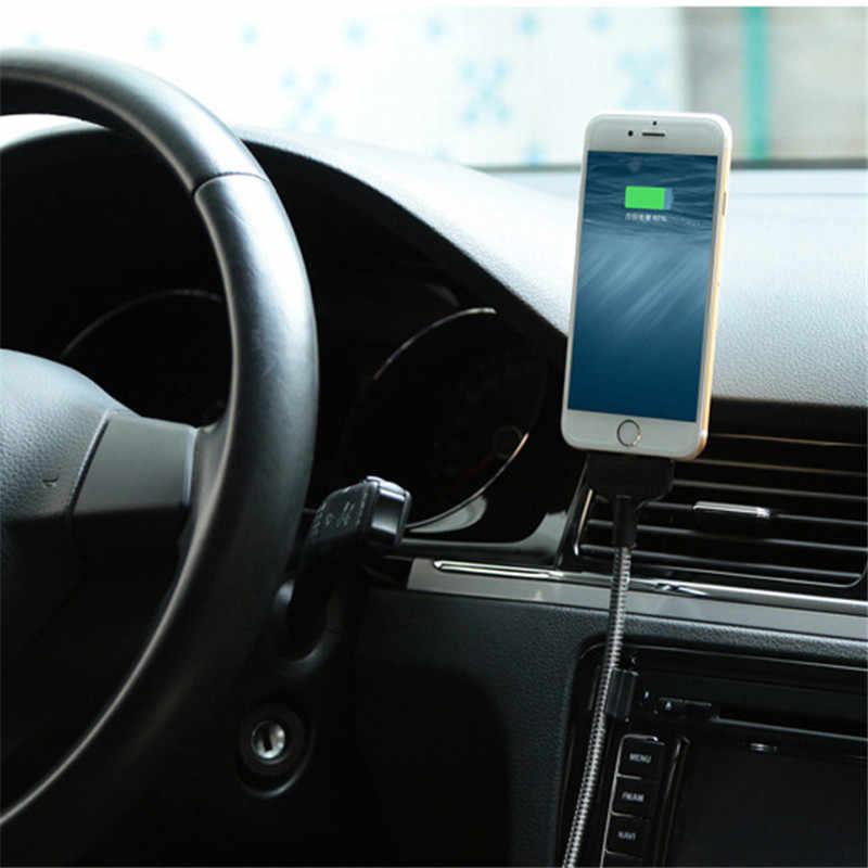 Esnek araç telefonu tutucu USB şarj veri kablosu telefon şarj braketi tutucu iPhone Android için akıllı telefonlar şarj standı raf
