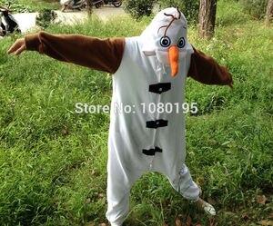 Image 2 - Anime Olaf snowman Costume Pajamas Cosplay White jumpsuit Adult Onesie Pyjamas Party Dress NL1601