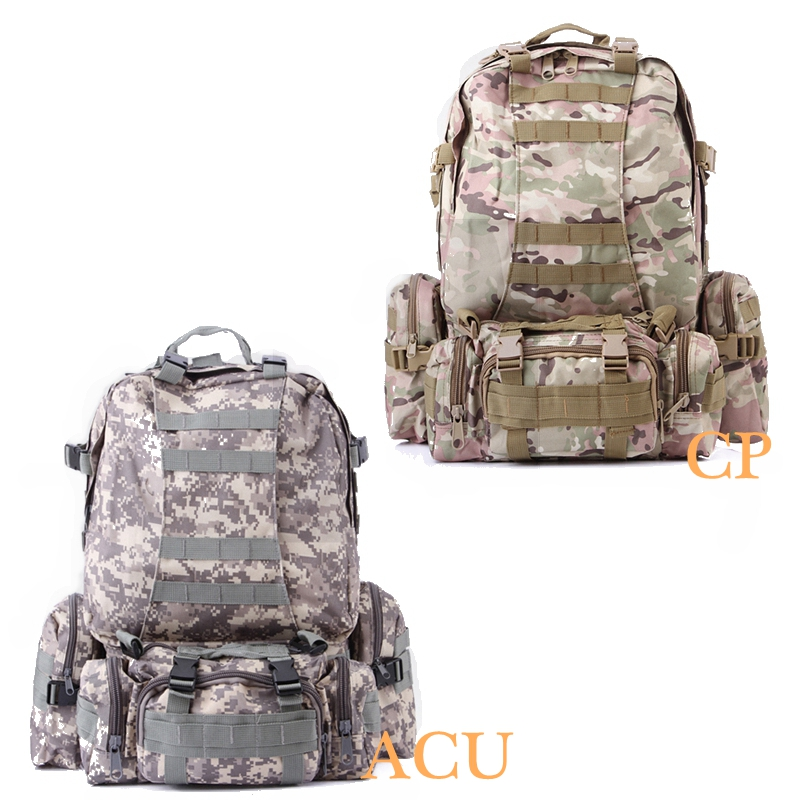 50L ACU CP Camouflage Tactical Backpack Rucksacks Outdoor Sports Bag  Camping Hiking Shoulder Bags-in Climbing Bags from Sports   Entertainment  on ... e23958bca7a4f