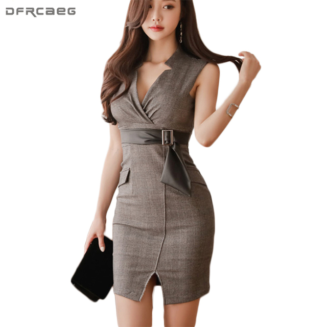 82426e170d1a 2018 Office Lady Summer Clothes For Women Dresses Sexy V-Neck High Quality Bodycon  Dress Plaid With Belt Ladies Vestido Vintage