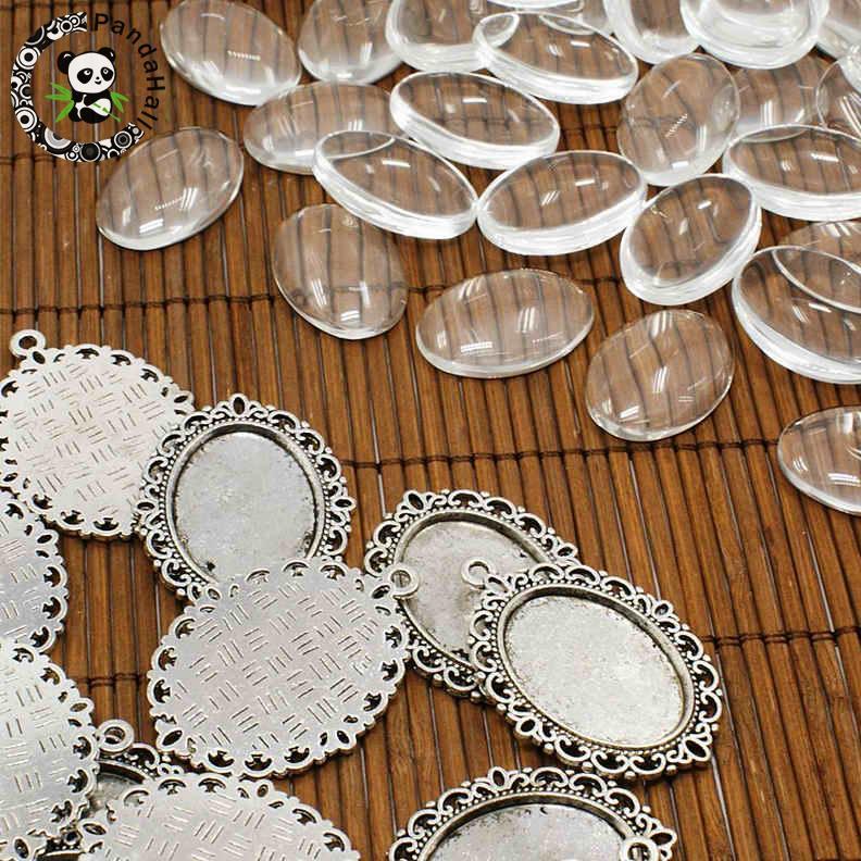 Aliexpress Com Buy 10set Lot Pendant Setting Flower Oval