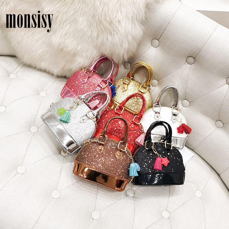 Monsisy Lolita Children Handbag Wallet Girl Glitter Small Bag Fashion Kid Shoulder Bag Baby Girl Party Metal Chain Messenger Bag 2017 120cm diy metal purse chain strap handle bag accessories shoulder crossbody bag handbag replacement fashion long chains new