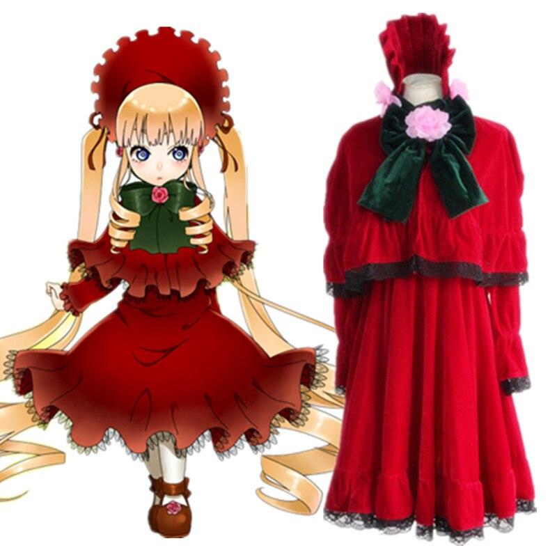 Shin ku Lolita Dress Costume Anime Rozen Maiden Reiner Rubin Cosplay Costume Red Lolita Adult Women Halloween Rozen Maiden Suit